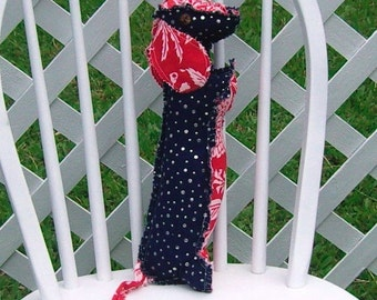 Dachshund Silver Dot Denim with Red Tropical Accents and Coconut Button Eyes Medium Pillow Adult Toy Dog