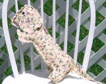 Dachshund Light Yellow Flowering Vine Print Cotton Adult Toy Medium Pillow Wiener Dog