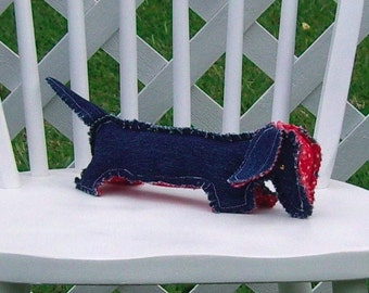 Dachshund Dark Blue Denim with Red Star Fabric Accents Wiener Dog OOAK Small Adult Toy Shelf Sitter