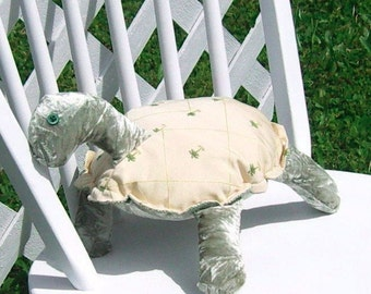 Turtle Cream Palm Print Sage Crushed Velvet Pillow Adult Toy OOAK