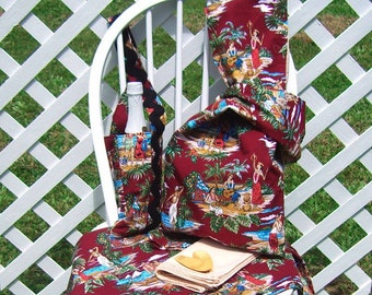 Picnic Set For Two Bag Bottle Carrier Mat Hawaiian Print