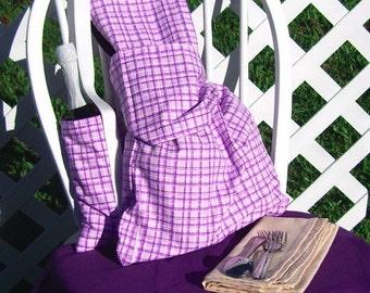Picnic Set for Two Purple Plaid Bag Bottle Carrier Picnic Cloth Travel Set