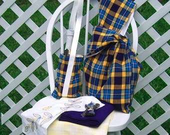 Picnic Set for Four Blue Yellow Plaid Bag Bottle Carrier Tablecloth Embroidered Mat Travel Set OOAK