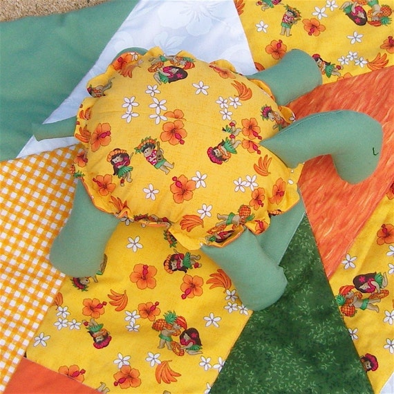 Turtle Kwilt Set Vibrant Yellow Orange Quilt and Stuffed Animal Child Set OOAK