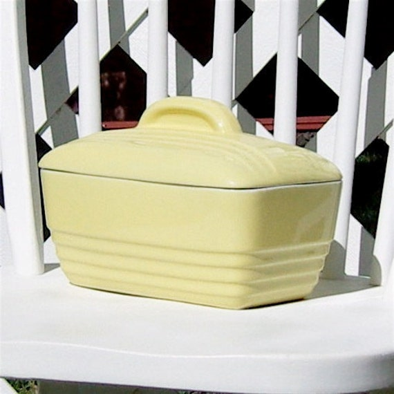 Hall China Refrigerator Dish Art Deco Canary Yellow Made for Westinghouse Vintage