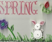 Spring ACEO with paper quilling flowers and rabbit