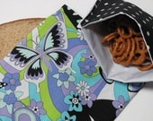 ReUsable Sandwich and Snack Bag Combo, Eco Friendly  Lunch Kit,  Butterfly, Retro Style