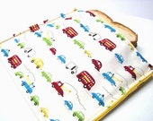 Travel Time  Reusable Sandwich Bag, Snack Bag, Eco Friendly,  Lunch Kit,  Large Size, Ready to Ship, Cars, Trucks, Automobiles