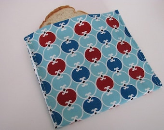 ReUsable Eco Friendly Sandwich Bag Fun Red and Blue Circles Ready to Ship