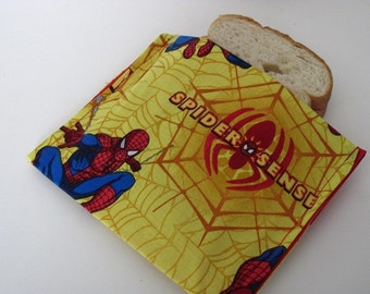 ReUsable Sandwich Bag Eco Friendly Spiderman Print Fabric Bag Back to School Superhero