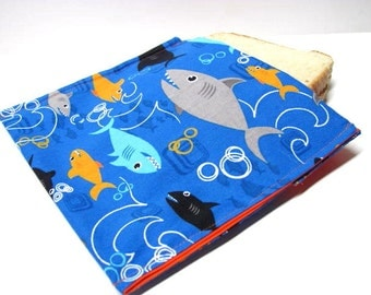 Reusable Sandwich Bag Sharks Eco Friendly Lunch Bag Snack Bag Ocean Fish Themed Back to School Ready to Ship