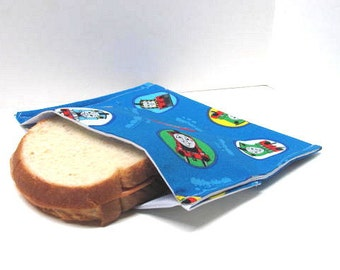Thomas the Train  Reusable Sandwich Bag, Snack Bag, Eco Friendly,  Lunch Kit,  Large Size, Ready to Ship, Childrens Reusable Bag