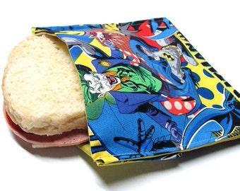 Reusable Sandwich Bag Batman vs Joker Eco Friendly Lunch Bag,  Heros vs Villians, Ready to Ship