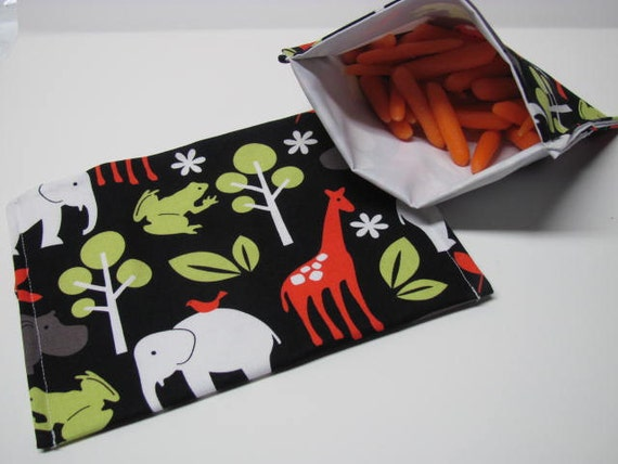 Eco ReUsable Large Snack Bag Set Lunch Kit Zoo Jungle Animals