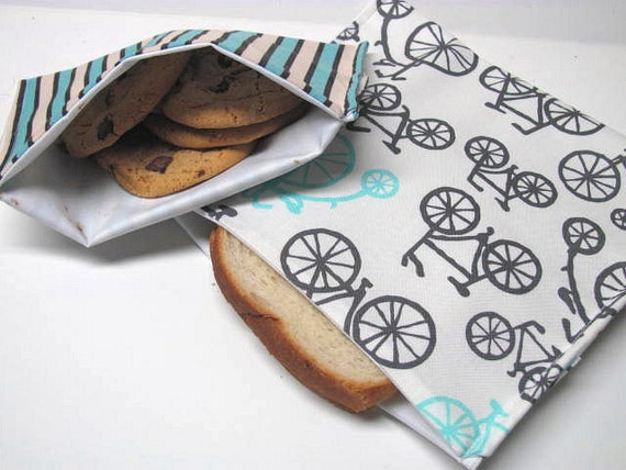 Sandwich Bag and Snack Bag Set ReUsable Eco Friendly Lunch Kit Bikes