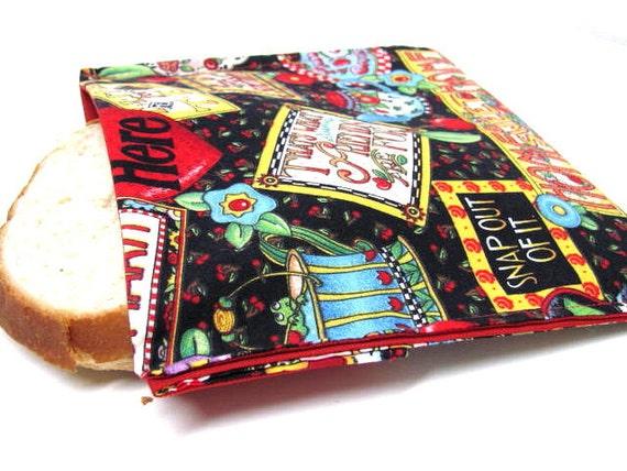 Reusable Sandwich Bag, Cheery Cherries Eco Friendly Sandwich Bag, Lunch Bag, Large,Mary Engelbreit Cotton Print, Earth Day