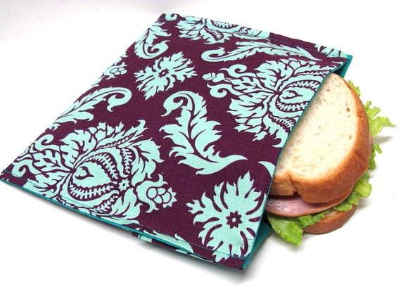 Reusable Sandwich Bag Plum and Turquoise Damask Eco Lunch Bag Food Storage Deep Plum Purple Modern Sandwich Bag