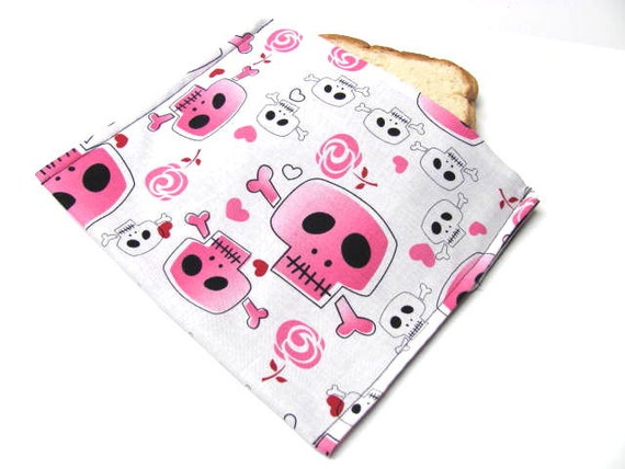 Skull Reusable Sandwich Bag Eco Friendly Lunch Kit Snack Bag Food Storage Bubble Gum Pink Skulls and Crossbones Pirate Ready to Ship
