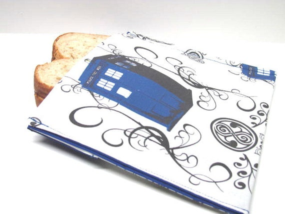 Tardis Reusable Sandwich Bag Time Travel Eco Lunch Sack Lunch Tote Food Storage Tardis and Scroll Cotton Print  Dr. Who Steam Punk