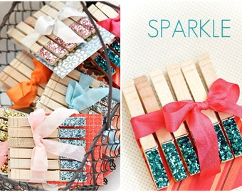 Turquoise Sparkle Glitter Clothespins, Set of 6