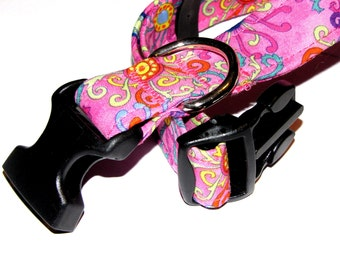 Funky Flowers Dog Collar - Size M