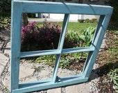 Vintage Blue Mirror Window Frame