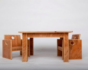 Infant Weaning Table with Two Chairs
