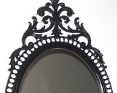 Large Black Gothic Frame and Mirror / Wall size  Victorian Style/ recycled  vintage
