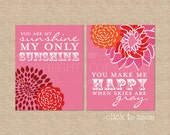 You are my Sunshine Art Print Set // Archival Giclee Art Prints for Nursery / Child's Room / Kids Room Art Print // N-G02-2PS AA1