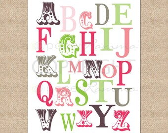 ABC Typography Print - 8x10 - Archival Giclee Art Print for Nursery / Child's Room