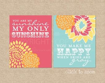 You are my Sunshine Nursery Art Print Set, girls nursery prints, baby nursery art, sunshine print set  //  2 Print Set  //  N-G02-2PS AA1