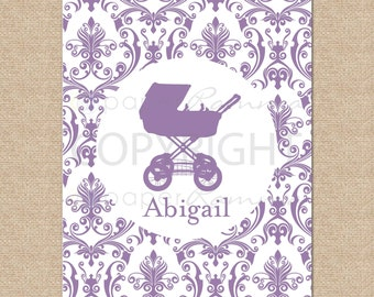 Damask and Silhouette Personalized Art Print // Style: My Name, Damask // N-S05-1PS-O QQ6