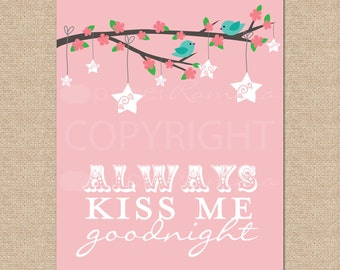 Always Kiss Me Goodnight Birdies // Archival Giclee Art Print for Nursery / Child's Room // N-G22-1PS AA1