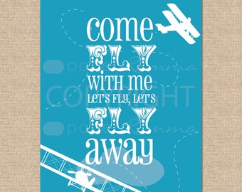 Come Fly with Me... Airplane Art Print // Archival Giclee Art Print for Playroom / Nursery / Child's Room // N-G62-1PS-O AA1