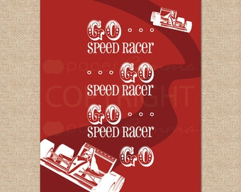 Go Speed Racer... Racecar Art Print // Giclée Art Print for Playroom / Nursery / Child's Room //N-G61-1PS AA1