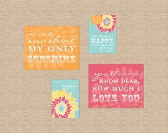 You are My Sunshine Nursery / Kids Room Giclée Art Prints // 4 Print Gallery Set // Custom match colors to your nursery/room // N-G27
