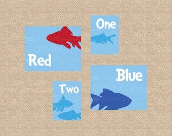 Dr Seuss, One Fish, Two Fish // Nursery/Kids Room Giclée Art Prints, 4 Print Gallery Set // Custom match colors to nursery/room // N-G38 AA1