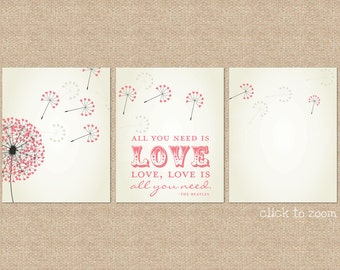 Beatles, All you need is love...  Valentines Day Gift // Giclée Art Prints, 3 Print Set, Custom match colors to a room // N-G30-3PS AA1