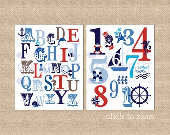 Ocean Nautical ABC and 123 Typography Giclée Art Prints, two print set // N-G47-2PS AA1 AA1