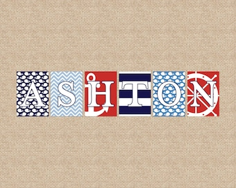 Nautical Collection // Wall Letters, Name Art Prints // Custom match colors to your nursery // Style- WE PRINT // N-P09 AA2