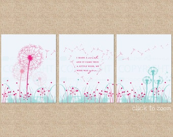 Dandelion Wishes // 3 Print Set // Custom match colors to your nursery/room // a PaperRamma Exclusive Quote // N-G24-3PS AA1