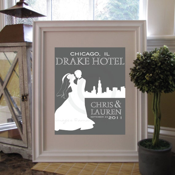 Personalized Wedding & Skyline Silhouette Print, Wedding Keepsake Art Print / Style: West Side // W-G04-1PS HH6