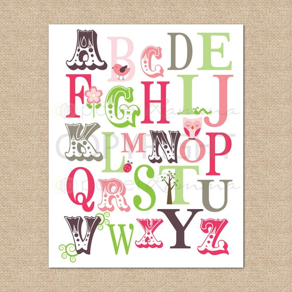 ABC Typography Print Whimsy, Girly, Nature // Archival Giclee Art Print for Nursery / Child's Room // N-G48-1PS AA1