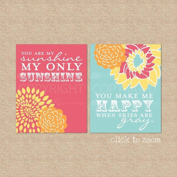 You are my Sunshine Art Print Set // Archival Giclee Art Prints for Nursery / Child's Room // Custom Match colors to a room // N-G02-2PS AA1