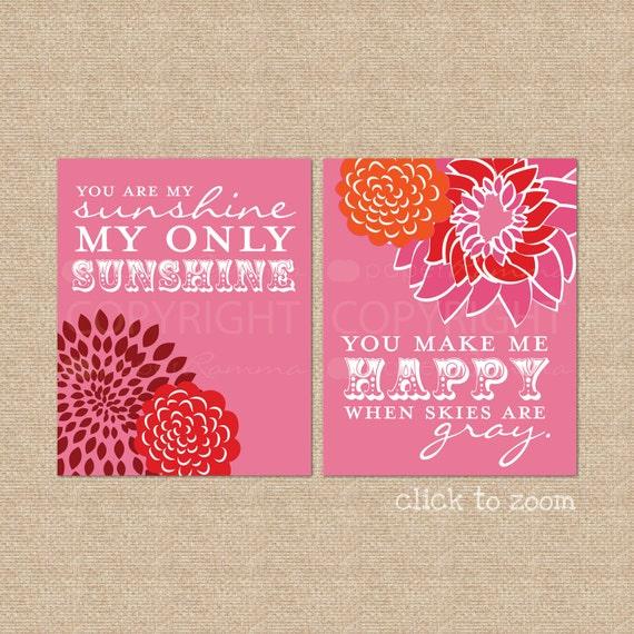 You are my Sunshine Art Print Set // Archival Giclee Art Prints for Nursery / Child's Room / Kids Room Art Print // N-G02-2PS AA1