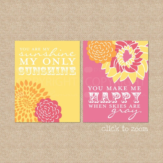 You are my Sunshine Quote // Giclée Art Prints for Nursery / Kids Room // Custom match colors to your nursery / room // N-G02-2PS AA1
