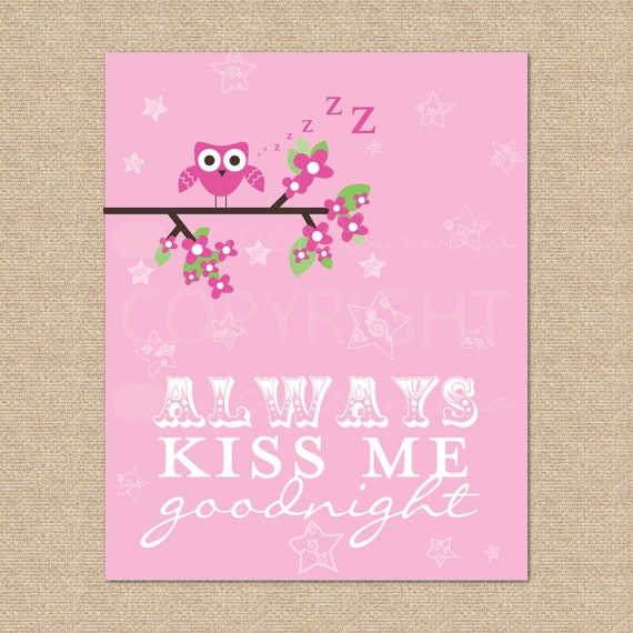 Owl, Always Kiss Me Goodnight // Archival Giclee Art Print for Nursery / Child's Room // custom match colors to bedding set // N-G22-1PS AA1