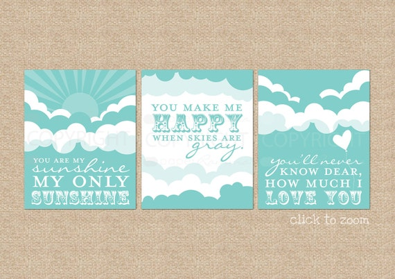 You are My Sunshine Art Prints, for Nursery / Kids Room // 3 Print Set of Giclée Art Prints // Sunshine and Clouds // N-G26-3PS AA1