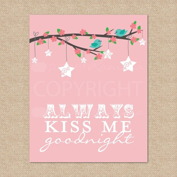 Always Kiss Me Goodnight Birdies // Archival Giclee Art Print for Nursery / Child's Room // N-G22-1PS AA1