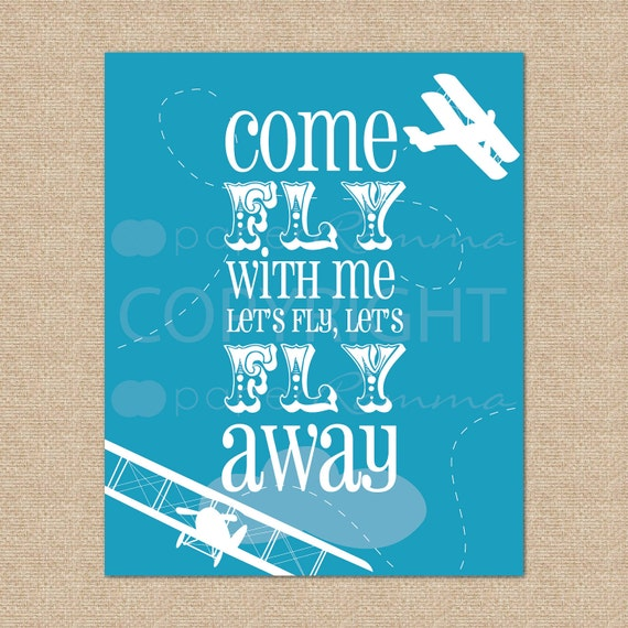 Come Fly with Me... Airplane Art Print // Archival Giclee Art Print for Playroom / Nursery / Child's Room // N-G62-1PS AA1